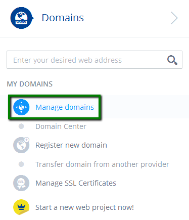 1&1.Navigate to Your Domain Management Page on the 1&1 Website