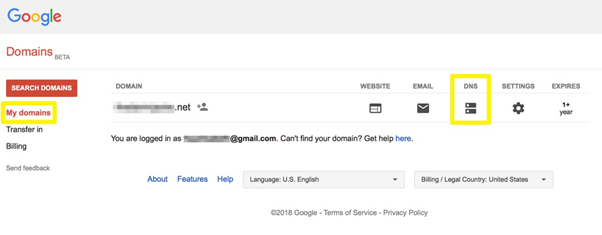Google.Select the Domain Wanted for Transfer